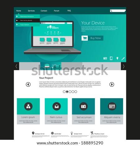 Modern elegant Flat Minimalist Website Template Design  - stock vector