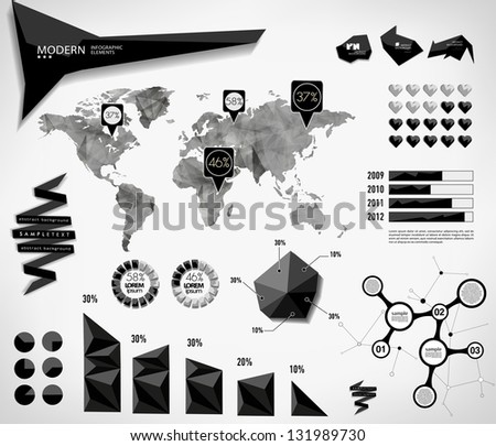 Modern elements of info graphics. World Map / Information Graphics/abstract modern Label, bubble and header - stock vector