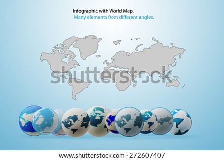 Modern elements of info graphics World Map. Vector