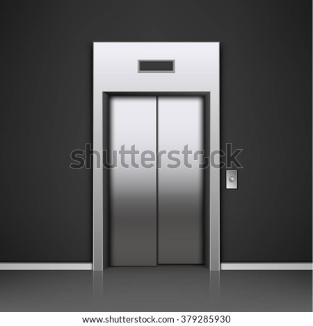 modern elevator with closed doors - stock vector