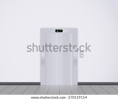 Modern elevator with closed doors. Vector illustration