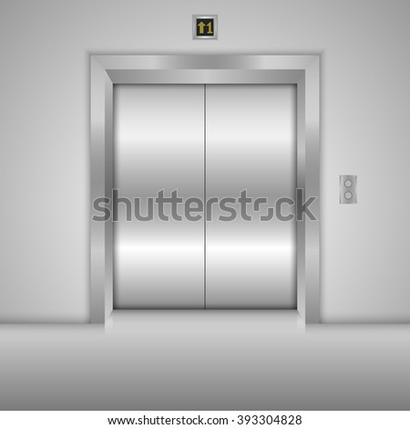 Modern elevator with closed metal doors. Vector illustration - stock vector