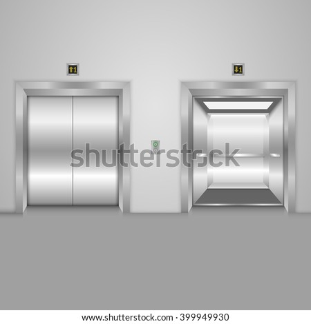 Modern elevator with open and closed metal doors. Vector illustration - stock vector