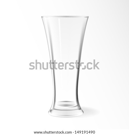 Modern empty drinking vector glass cup isolated on white background. Glass vase. - stock vector