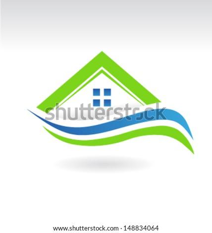 Modern Estate House Icon  - stock vector