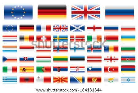 Modern flag set. Europe 48 flags. Vector without transparencies.