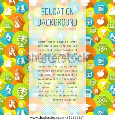 Modern flat blurred background with school white silhouette icons. Educational template with empty space for text. Suited for design of book, notepad, notebook cover, article in periodical, web banner - stock vector