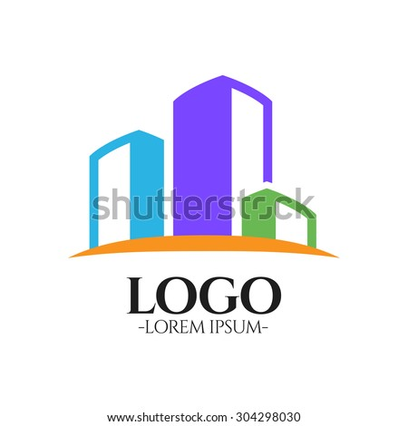 Modern Flat Building vector logo design template .Creative business symbol. Building abstract icon. Corporate sign. - stock vector