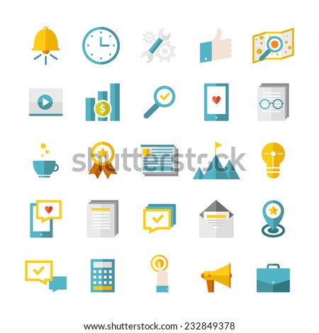 Modern flat business icons vector collection. Web design objects, SEO, business, office and marketing items. Isolated on white background - stock vector