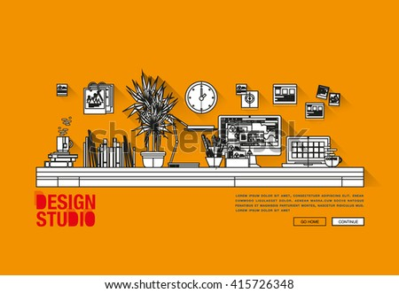 Modern flat cartoon technic web design with bright flat icons of design studio agency services. Digital graphics, web develop and apps prototyping. Flat design image concept, website elements layout - stock vector