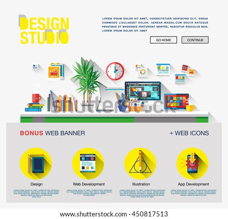 Modern flat cartoon technic web design with bright flat icons of design studio agency services. Digital graphics, web develop and apps prototyping. Flat design image concept, website elements layout
