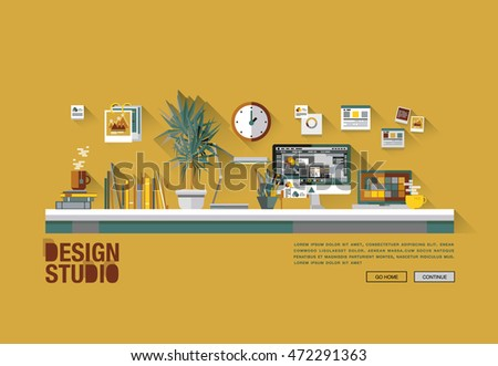 Modern flat cartoon technical web design with bright flat icons of design studio agency services. Digital graphics, web develop and apps prototyping. Flat design image concept, website elements layout