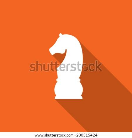 Modern flat chess piece icon with long shadow - stock vector