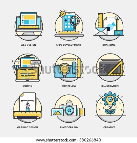 Modern flat color line designed concepts icons for Branding, Graphic design, Web design, Workflow, coding, Illustration, Photography, Creative. Can be used for Web Project and Applications. - stock vector