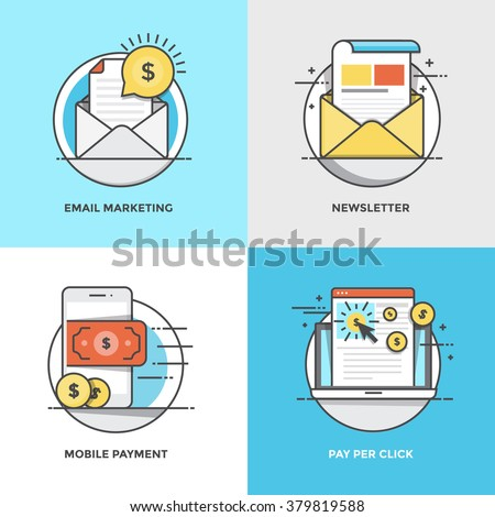 Modern flat color line designed concepts icons for Email Marketing, Newsletter, Mobile Payment and Pay Per Click. Can be used for Web Project and Applications. Vector Illustration - stock vector