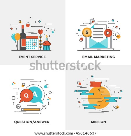 Modern flat color line designed concepts icons for Event Service, Email Marketing, Question and Answer and Mission. Can be used for Web Project and Mobile Platforms. Vector Illustration