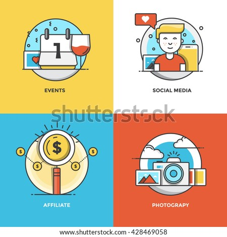 Modern flat color line designed concepts icons for Events, Social Media, Affiliate and Photograpy. Can be used for Web Project and Applications. Vector Illustration - stock vector