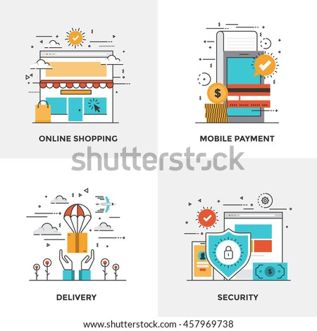 Modern flat color line designed concepts icons for Online Shopping, Mobile Payment, Delivery and Security. Can be used for Web Project and Mobile Platforms. Vector Illustration
