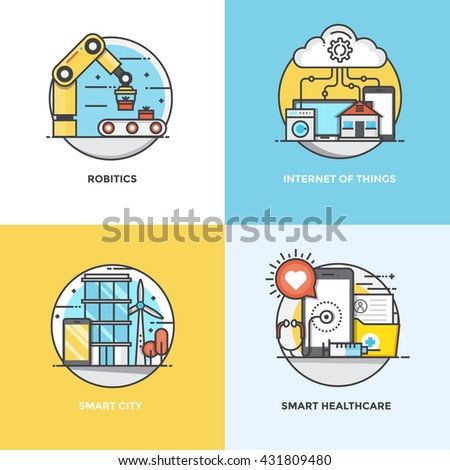 Modern flat color line designed concepts icons for Robotics, Internet of Things, Smart City and Smart Healthcare. Can be used for Web Project and Applications. Vector Illustration - stock vector