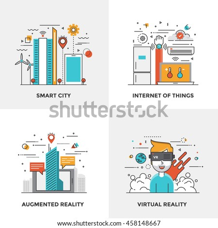 Modern flat color line designed concepts icons for Smart City, Internet of Things, Augmented Reality and Virtual Reality. Can be used for Web Project and Mobile Platforms. Vector Illustration