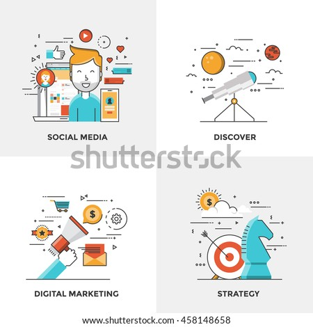 Modern flat color line designed concepts icons for Social Media, Discover, Digital Marketing and Strategy. Can be used for Web Project and Mobile Platforms. Vector Illustration