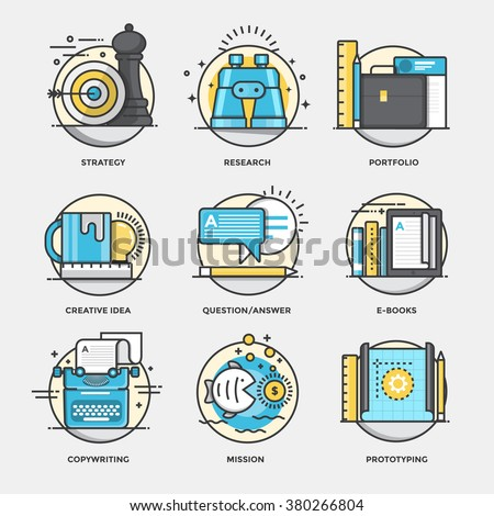 Modern flat color line designed concepts icons for Startegy, Research, Portfolio, Creative Idea, Question and Answer, Ebooks, Copywriting, Prototyping. Can be used for Web Project and Applications - stock vector