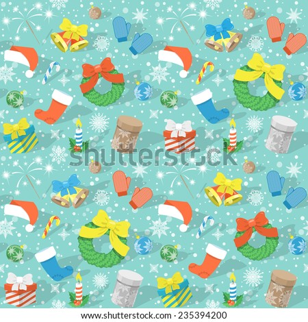 Modern flat colorful seamless holiday pattern with Christmas Symbols: Christmas bells, Santa cap, Christmas wreath, stocking, gift boxes, candle, Christmas balls,  snowflakes etc. Christmas background - stock vector