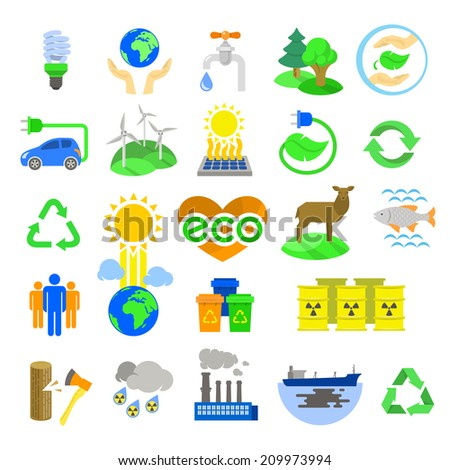 Modern flat colorful vector ecology icons, including alternative energy sources, environmental issues, conservation of natural resources and the influence of human on the planet. Isolated on white. - stock vector