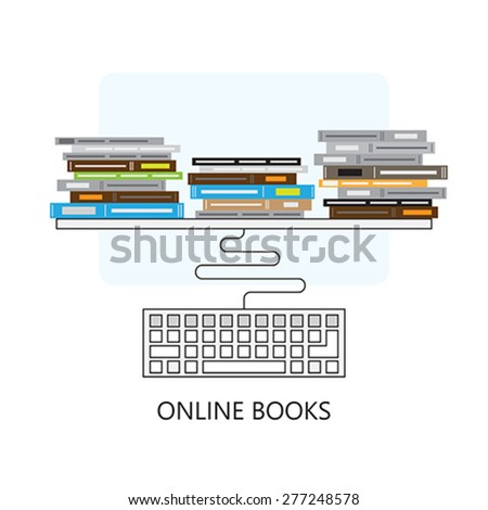 Modern flat concept design on online books and computer keyboard   Creative illustration on e-learning process featuring books and computer keyboard, top view - stock vector