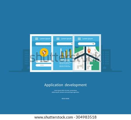 Modern flat design application development concept  for e-business, web sites, mobile applications, banners, mobile navigation. Vector illustration - stock vector