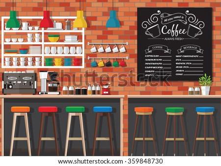 Modern Flat Design Coffee shop Interior Vector Illustration - stock vector