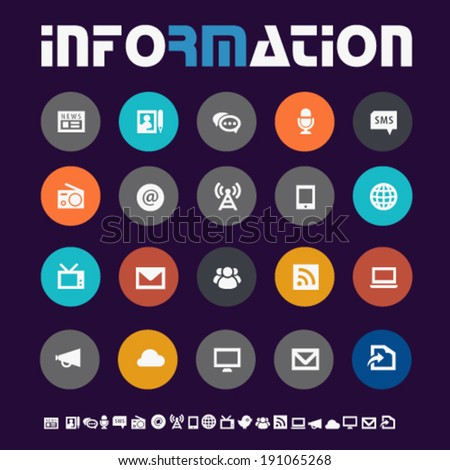 Modern flat design colored information icons on circles - stock vector