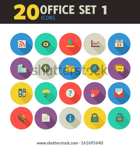 Modern flat design colored office icons, set 1, with long shadow - stock vector