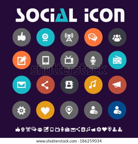 Modern flat design colored social network icons on circles - stock vector
