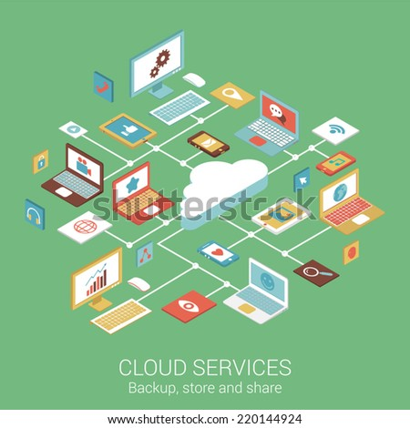 Modern flat design concept for cloud services device computer tablet phone and vector web banners illustration print materials website click infographics elements isometric collection - stock vector