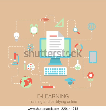 Modern flat design concept for e-learning knowledge education study online courses and vector web banners illustration print materials website click infographics elements collection - stock vector