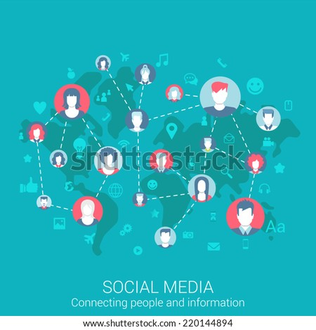 Modern flat design concept for social media global worldwide people connections information exchange and vector web banners illustration print materials website click infographics elements collection - stock vector