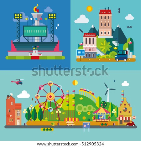 Modern flat design conceptual illustration. Amusement park.