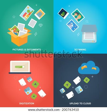 Modern flat design digitization concept, vector illustration of image digitization and cloud computing  - stock vector