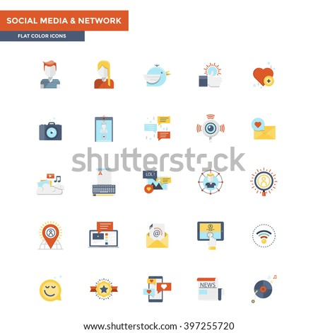 Modern flat design icons for Social Media and Network. Easy to use and highly customizable. Vector - stock vector