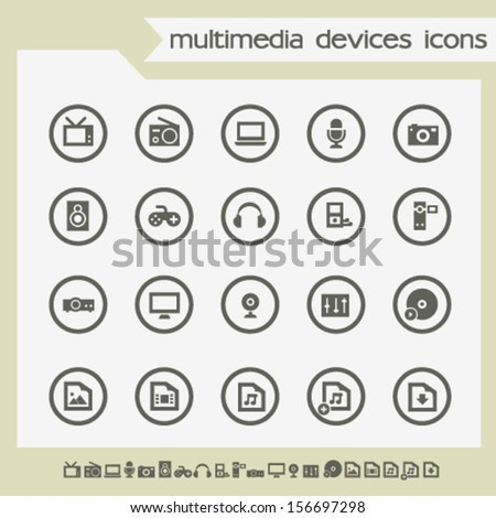 Modern flat design icons of multimedia devices, on circles - stock vector