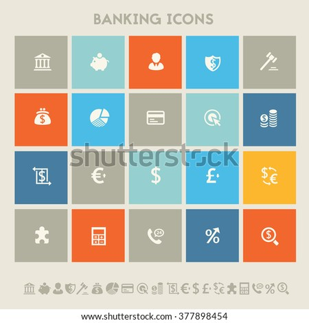 Modern flat design multicolored banking icons collection - stock vector