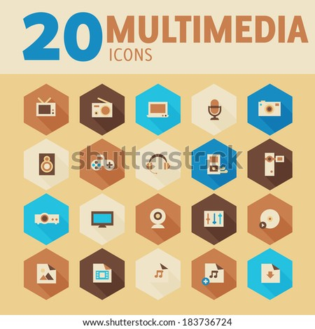 Modern flat design multimedia icons on hexagon buttons in beige gamut, 10 eps - stock vector