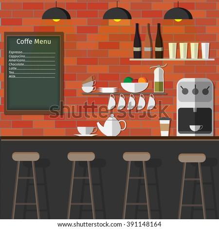 Modern Flat Design of coffee shop,coffee bar - stock vector
