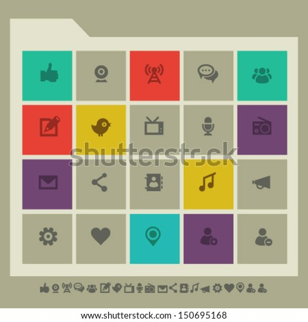 Modern flat design social network icons - stock vector