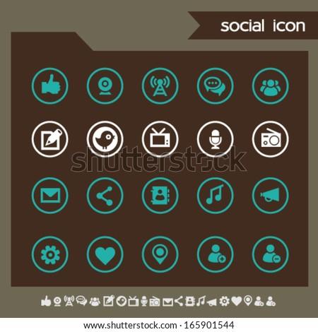 Modern flat design social network icons, dark on circles - stock vector
