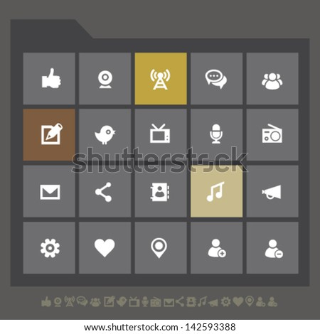Modern flat design social network icons for mobile devices and contemporary interfaces - stock vector