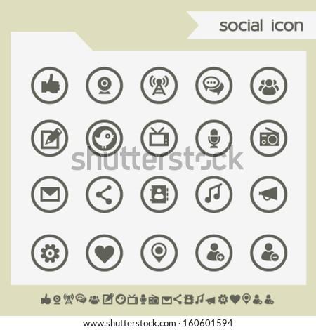 Modern flat design social network icons, on circles - stock vector
