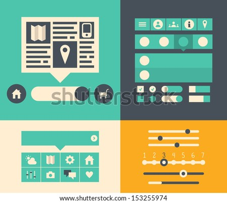 Modern flat design vector illustration icons set of buttons, forms, tabs, sliders and other navigation elements for website user interface. Isolated on colored background - stock vector