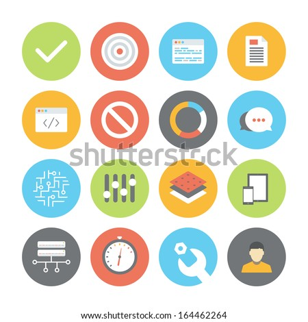 Modern flat design vector illustration icons set of user interface design, web programming and website coding elements and objects. Isolated on white background.   - stock vector